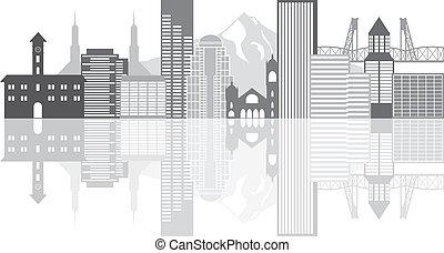 portland, grayscale, contorno, ilustración, oregón
