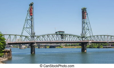 Time lapse of the hawthorne bridge and willamette river in portland.