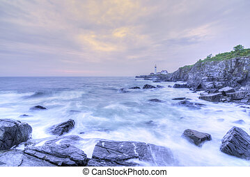 Portland Head Lamp and rocky Maine coastline
