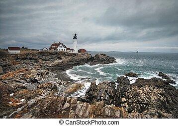 Portland Headlight in Maine - Portland Headlight along...