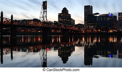 Portland OR City Water Reflection