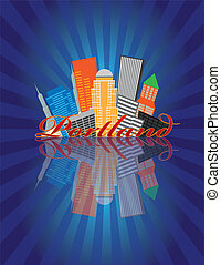 Portland Oregon Abstract Downtown City Skyline with Blue Sunray Background and Reflection Illustration