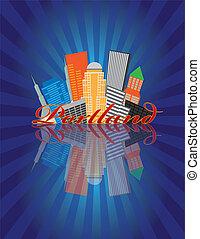 Portland Oregon Abstract Skyline Sunray Background Illustration