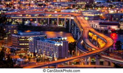 Portland Oregon at dusk, time lapse - Aerial view of I-5...