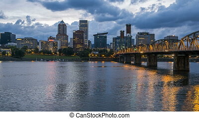 Portland Oregon at dusk, time lapse - Hawthorne Bridge...