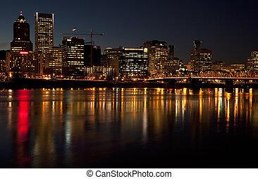 Portland Oregon at night.