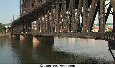 Portland, Oregon Bridge and Downtown View