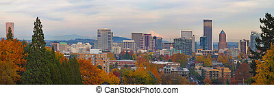 Portland Oregon City Skyline and Mount Hood
