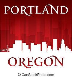 Portland Oregon city skyline silhouette red background