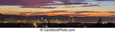 Portland Oregon City Skyline Sunset Panorama