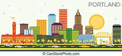 Portland Oregon City Skyline with Color Buildings and Blue ...