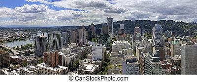 Portland Oregon Cityscape Aerial View - Portland Oregon...