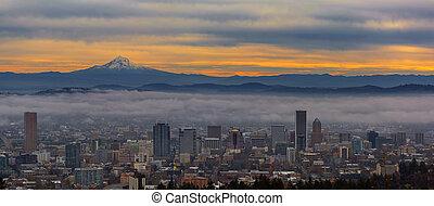 Portland Oregon Cityscape and Mount Hood at Sunrise