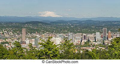 Portland Oregon Cityscape and Mount Hood