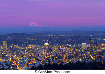 Portland Oregon Cityscape at Dusk
