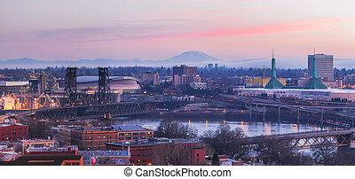 Portland Oregon Cityscape at Sunrise Panorama