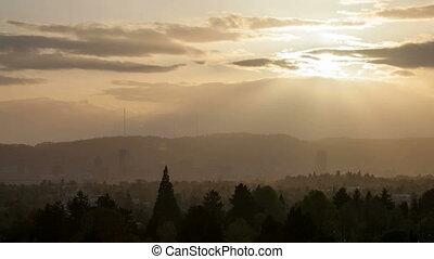Portland Oregon Cityscape at Sunset