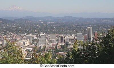 Portland Oregon Cityscape Panning