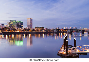 Portland, Oregon. Night scene with light reflections on the Willamette River