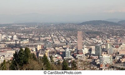 Portland Oregon Cityscape Skyline - Portland Oregon Downtown...