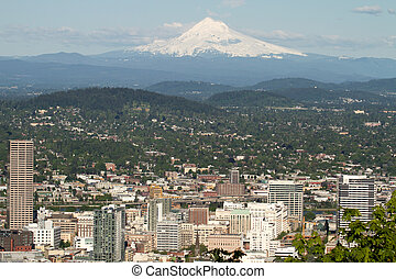 Portland Oregon Cityscape with Mount Hood