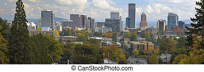 Portland Oregon Downtown City Skyline in Autumn