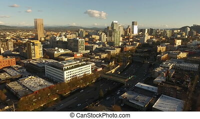 Aerial view of the buildings and infrastructure of Portland Oregon PNW USA