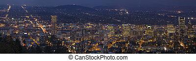 Portland Oregon Downtown Cityscape at Blue Hour