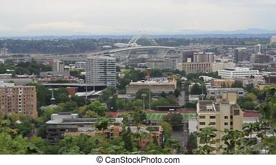 Portland Oregon Downtown Cityscape from West Hills 1080p...
