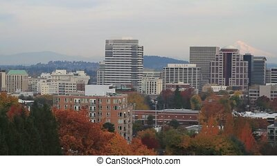 Portland Oregon Downtown Cityscape with Mount Hood in Fall...