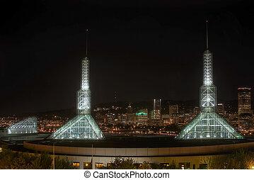 Portland Oregon Downtown Night Skyline