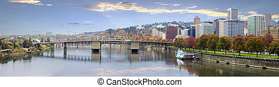 Portland Oregon Downtown Skyline and Bridges - Portland...
