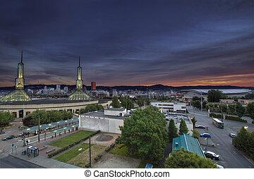 Portland Oregon Downtown Skyline at Sunset