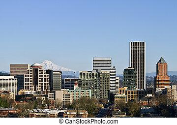 Portland Oregon Downtown Skyline from Vista Bridge