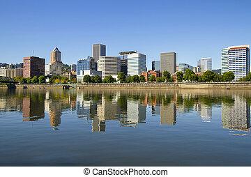 Portland Oregon Downtown Skyline Reflection 3