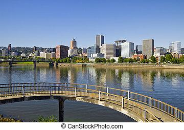 Portland Oregon Downtown Skyline Reflection 4