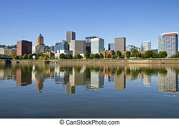 Portland Oregon Downtown Skyline Reflection 3