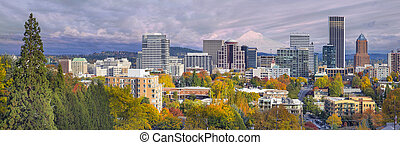 Portland Oregon Downtown Skyline with Mt Hood - Portland...