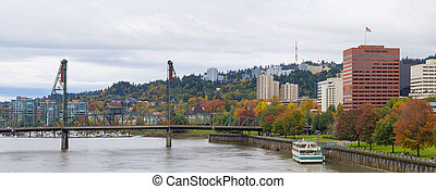 Portland Oregon Downtown Waterfront Park Panorama