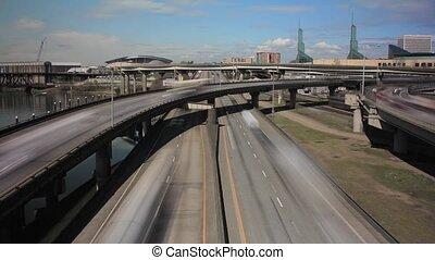 Portland Oregon Freeway Timelapse - Portland Oregon Downtown...