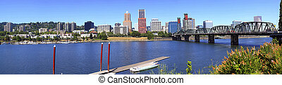 Portland Oregon panorama. - A panoramic view of Portland...