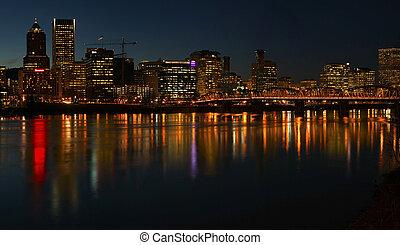 Portland Oregon panorama at night.