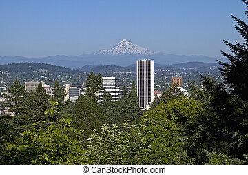 Portland Oregon Skyline and Mount Hood 2