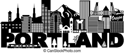 Portland Oregon Skyline and Text Black and White Illustration