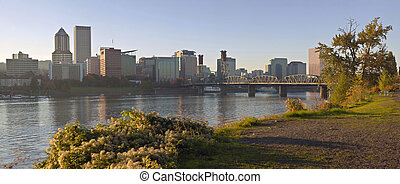 Portland Oregon skyline at sunset.