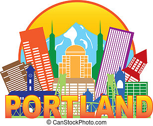 Portland Oregon Outline Silhouette with City Skyline Downtown Circle Color Text Isolated on White Background Illustration