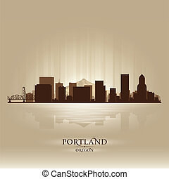 Portland Oregon skyline city silhouette