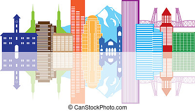 Portland Oregon Outline Silhouette with City Skyline Downtown Panorama Color Reflection Isolated on White Background Illustration