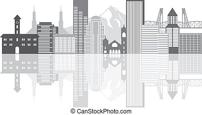 Portland Oregon Outline Silhouette with City Skyline Downtown Panorama Grayscale Reflection Isolated on White Background Illustration