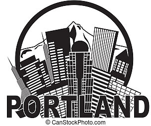 Portland Oregon Abstract Downtown City Skyline with Mount Hood Black and White Isolated on White Background Illustration